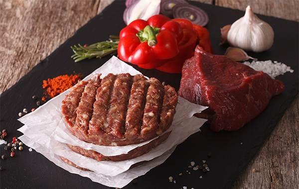 Raw Ground beef meat Burger steak cutlets. Horizontal closeup